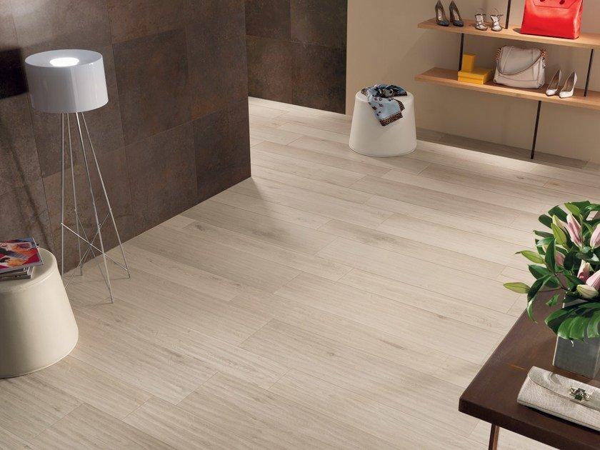Ecological frost proof wall/floor tiles with wood effect EVOKE IVORY by CERAMICHE KEOPE