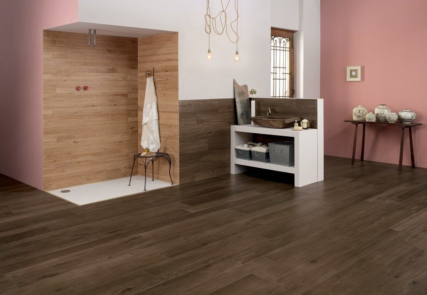 Ecological frost proof wall/floor tiles with wood effect EVOKE MOKA by CERAMICHE KEOPE