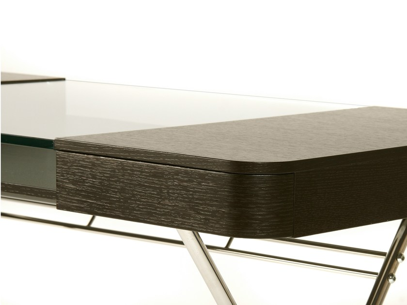 Wood Writing Desk With Drawers And Glass Top COSIMO WENGÈ By Adentro