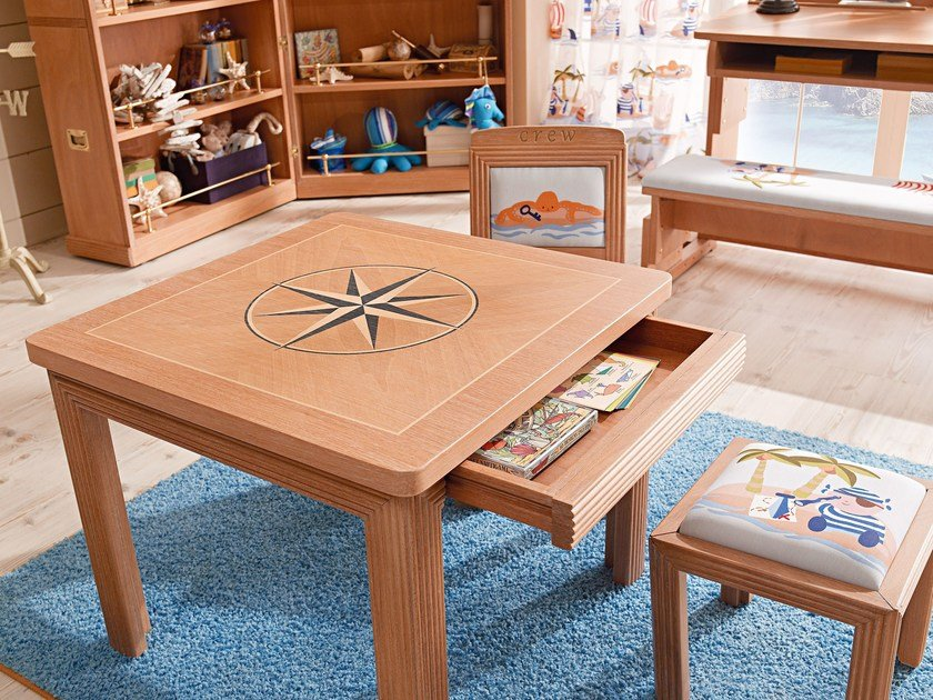 Square wooden Kids table 672 | Kids table by Caroti