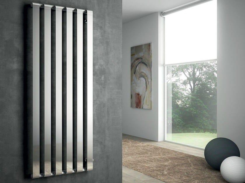 Wall-mounted chrome decorative radiator STEP V by IRSAP