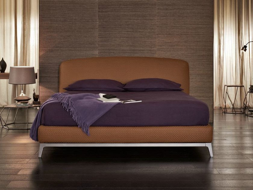 Leather double bed OLIVIER | Leather bed by Flou