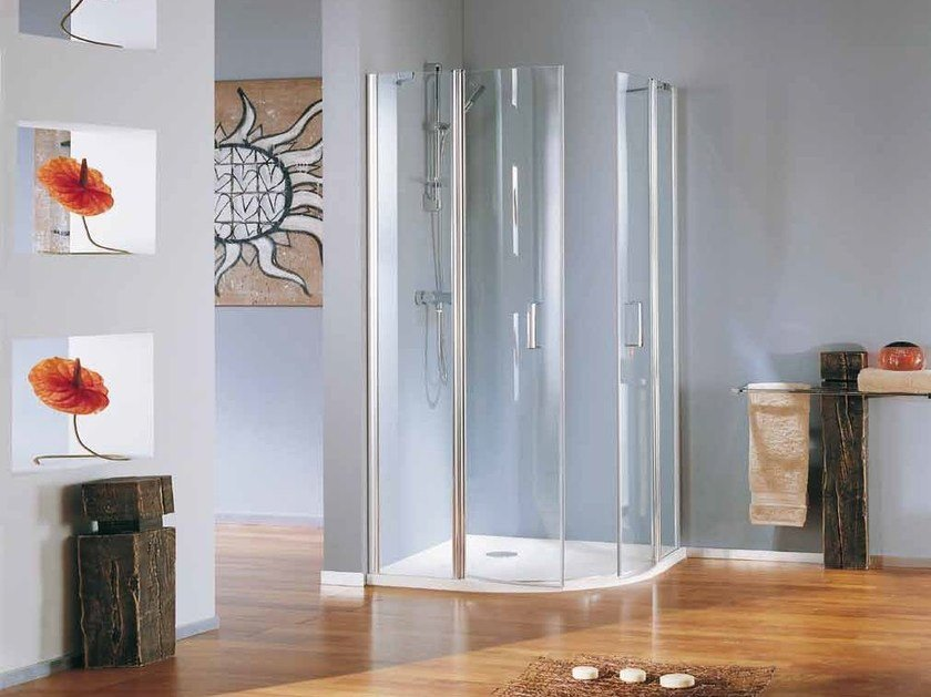 Corner semicircular shower cabin with hinged door POLARIS DELUXE | Semicircular shower cabin by Samo