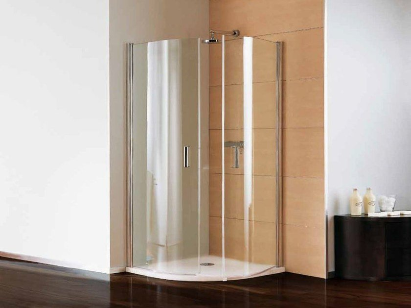Corner semicircular shower cabin with hinged door POLARIS DREAM | Semicircular shower cabin by Samo