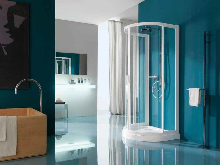 Semicircular shower cabin with tray AMERICA | Semicircular shower cabin by Samo