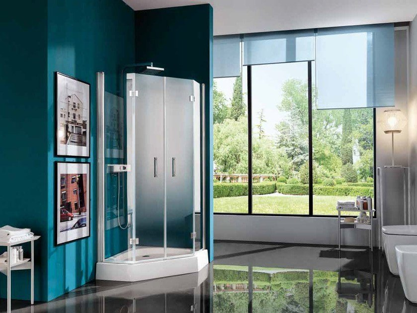 Corner shower cabin with hinged door with tray ALTER | Corner shower cabin by Samo