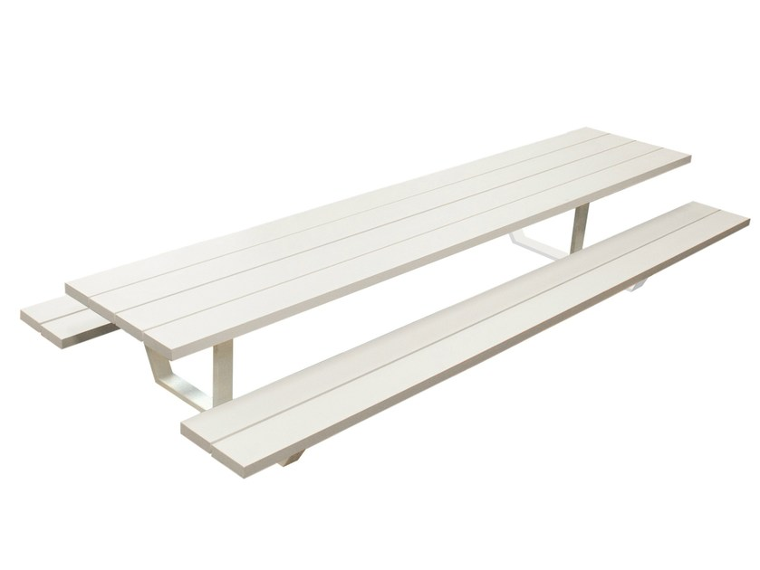 Aluminium picnic table with integrated benches CASSECROUTE by CASSECROUTE