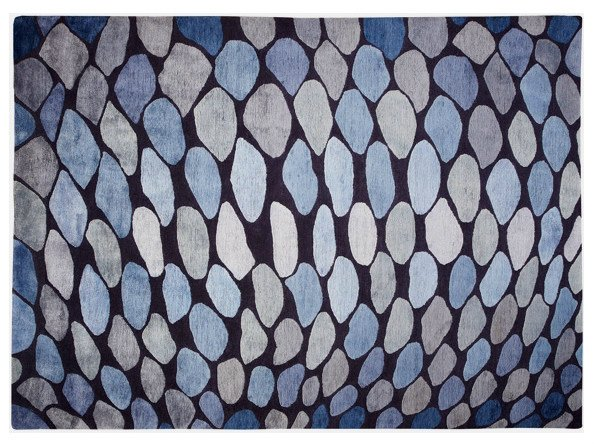 Patterned handmade rug FISH SCALES by Deirdre Dyson