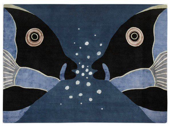 Patterned handmade rug PARROT FISH by Deirdre Dyson