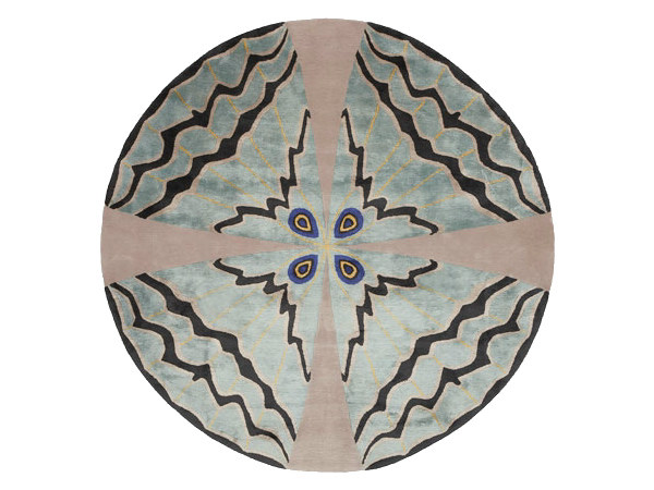 Patterned handmade round rug PSYCHE by Deirdre Dyson