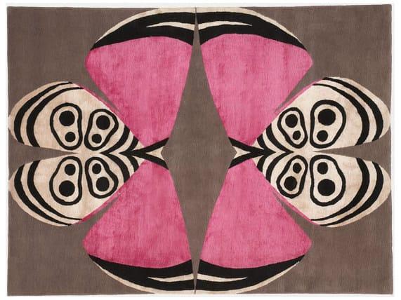 Patterned handmade rectangular rug PALOMA by Deirdre Dyson