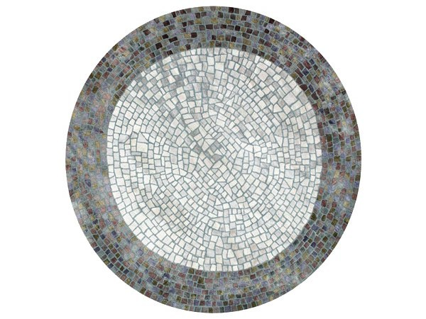 Round rug with geometric shapes ROMAN POND MOSAIC by Deirdre Dyson