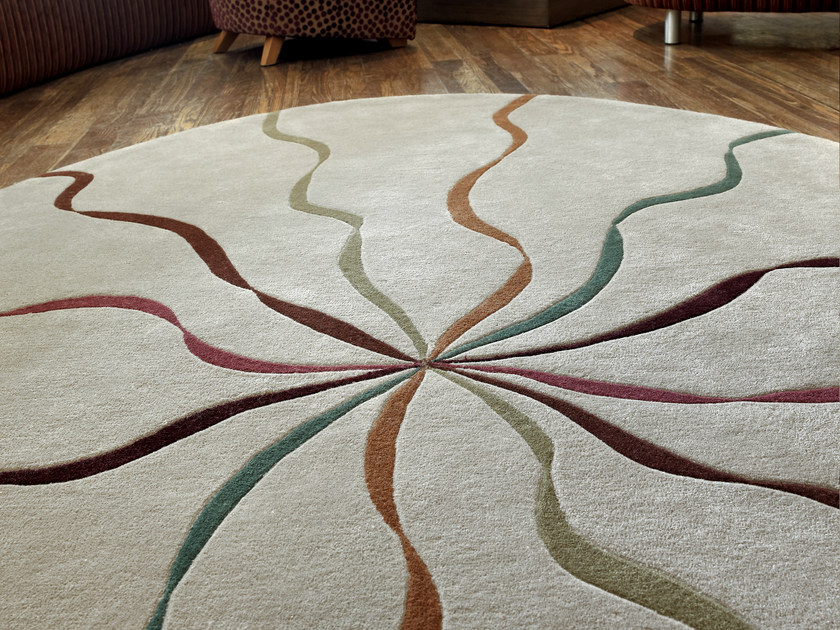 Handmade rug FALLING RIBBONS | Round rug by Deirdre Dyson