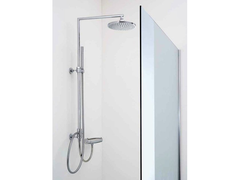 Wall-mounted shower panel with hand shower with overhead shower Shower panel by Samo