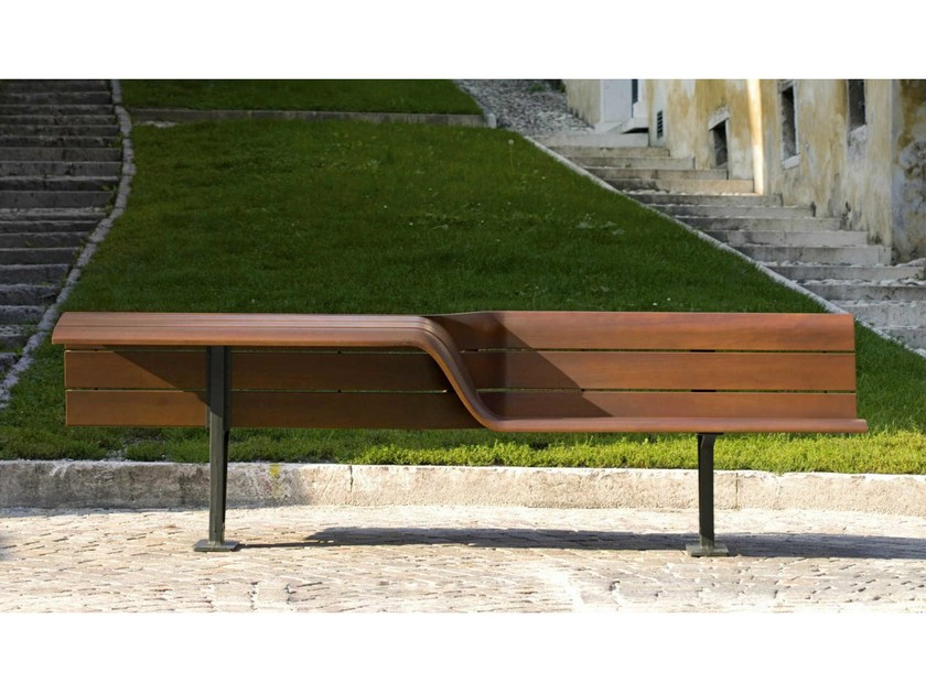 Wooden Bench with back SEDIS, SEDIS TORSION   Bench by Metalco