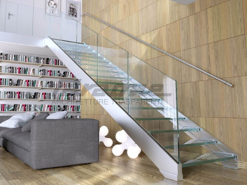 Glass and steel Open staircase NINFA S by FARAONE