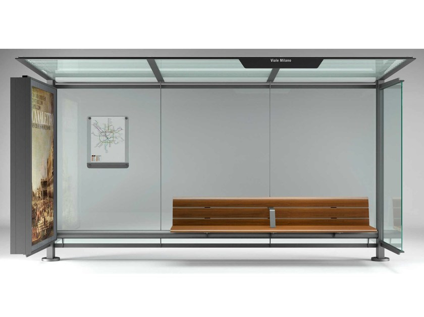 Steel porch with built-in lights PENSILIS 1722 & 1223 by Metalco