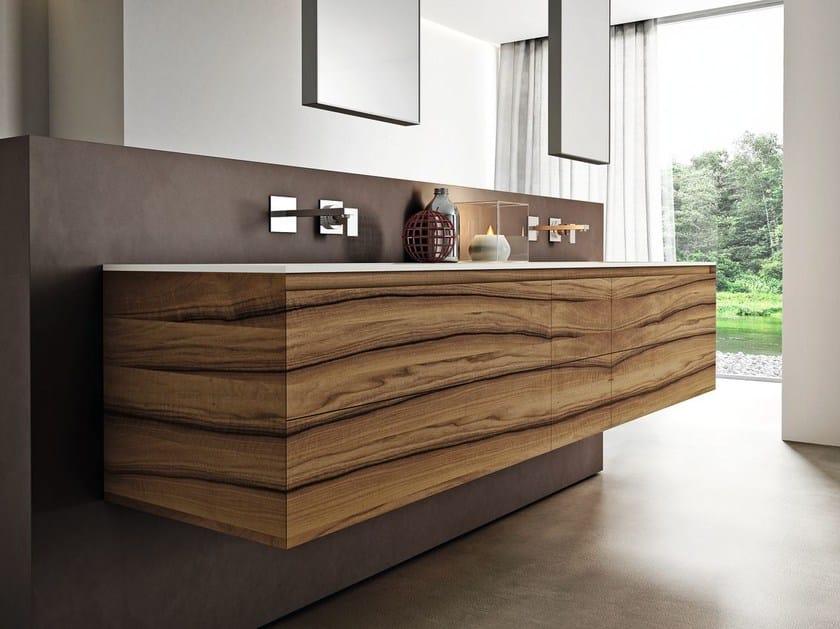 Walnut bathroom furniture set CUBIK N°01/A by Idea