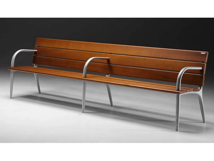 Contemporary style wooden Bench with armrests RIVA | Bench by Metalco