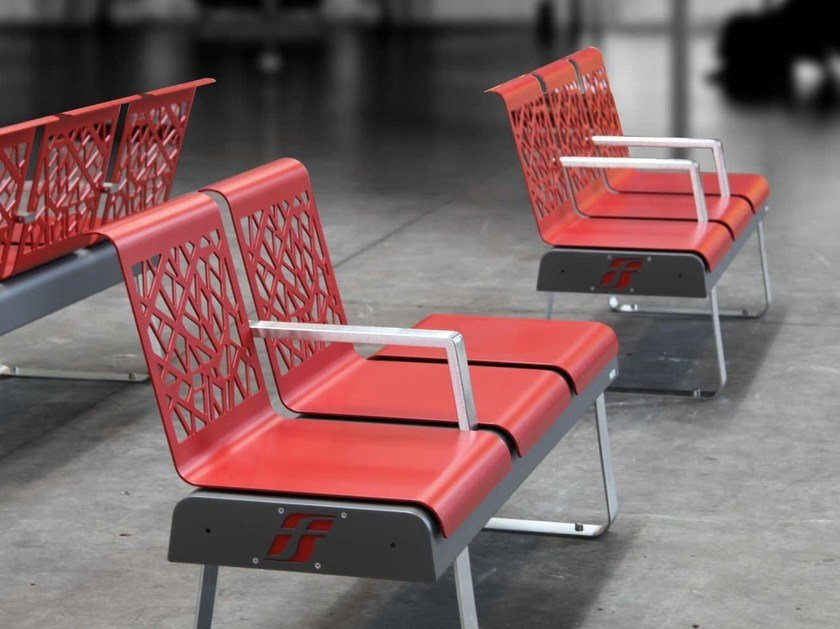 Steel Bench with armrests with back FRECCIA by Metalco