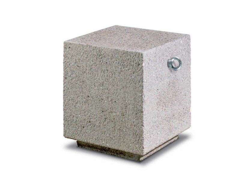 Fixed reconstructed stone bollard with base CORALLO | Reconstructed stone bollard by Metalco