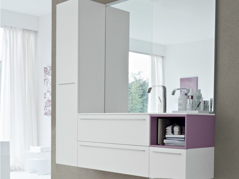 Vanity unit with doors with drawers COMP MFE10 by Idea