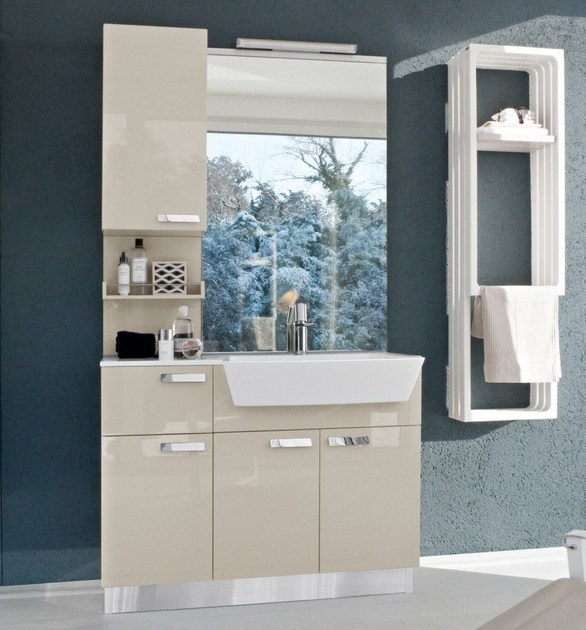 Lacquered vanity unit with doors COMP MFE19 by Idea
