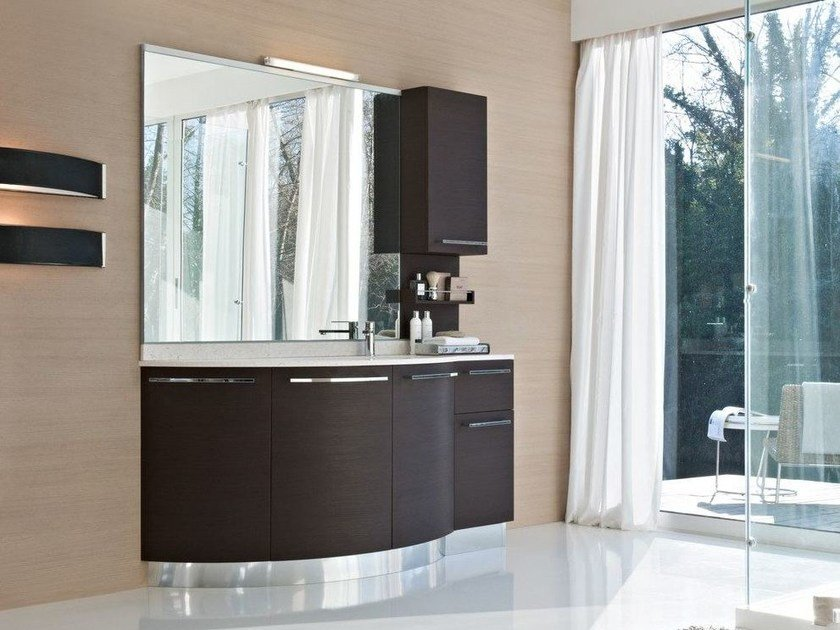 Wenge vanity unit with doors COMP MFE20 by Idea