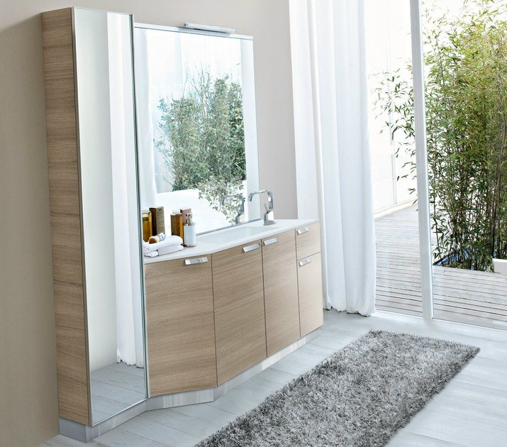 Oak vanity unit with mirror COMP MFE21 by Idea