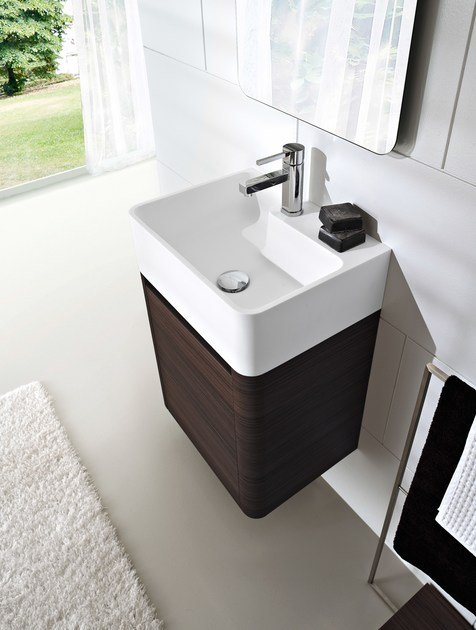 Wall-mounted wenge vanity unit COMP MSP03 by Idea