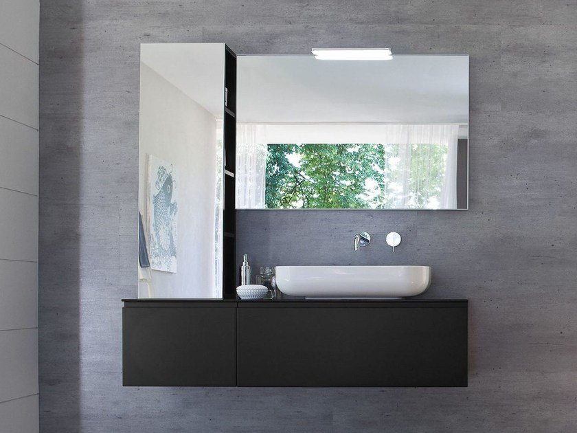 Lacquered vanity unit with mirror COMP MSP08 by Idea