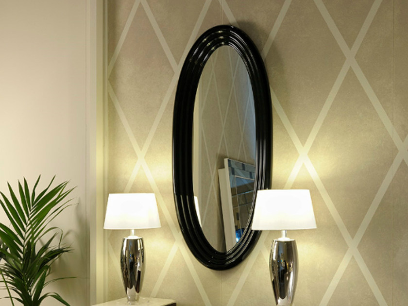 Wall-mounted framed oval mirror ART DECO MILANO | Framed mirror by Transition by Casali