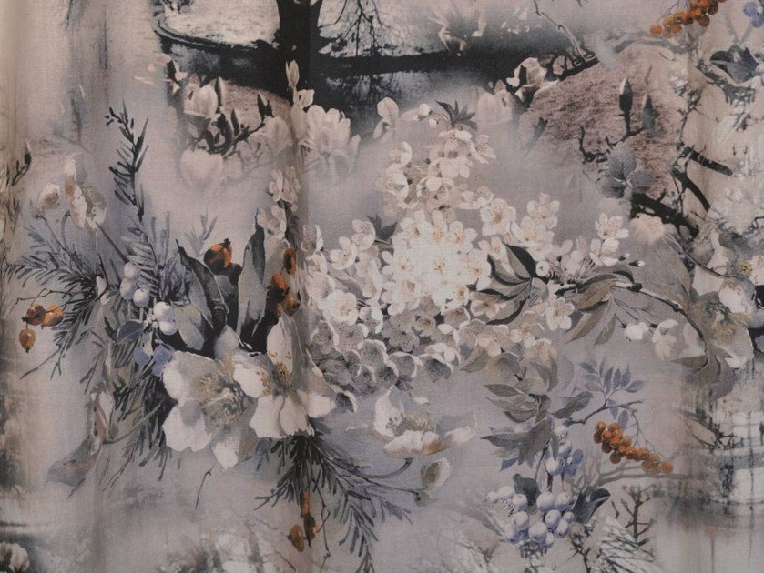 Printed linen fabric with floral pattern VAGABOND by LELIEVRE