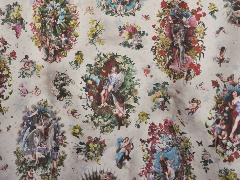 Multi-colored cotton fabric ANGELOTS by LELIEVRE