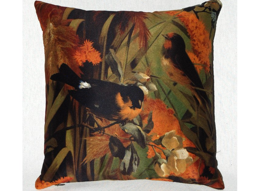 Square polyester cushion FIDELES AUTOMNE by LELIEVRE