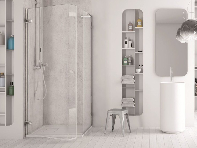 Corner glass shower cabin with hinged door SOFTGLASS PA1+FA1 by MEGIUS