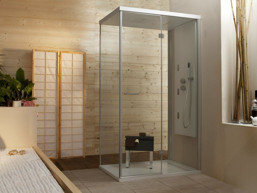 Multifunction rectangular shower cabin with hinged door WELLDREAM | Shower cabin by MEGIUS