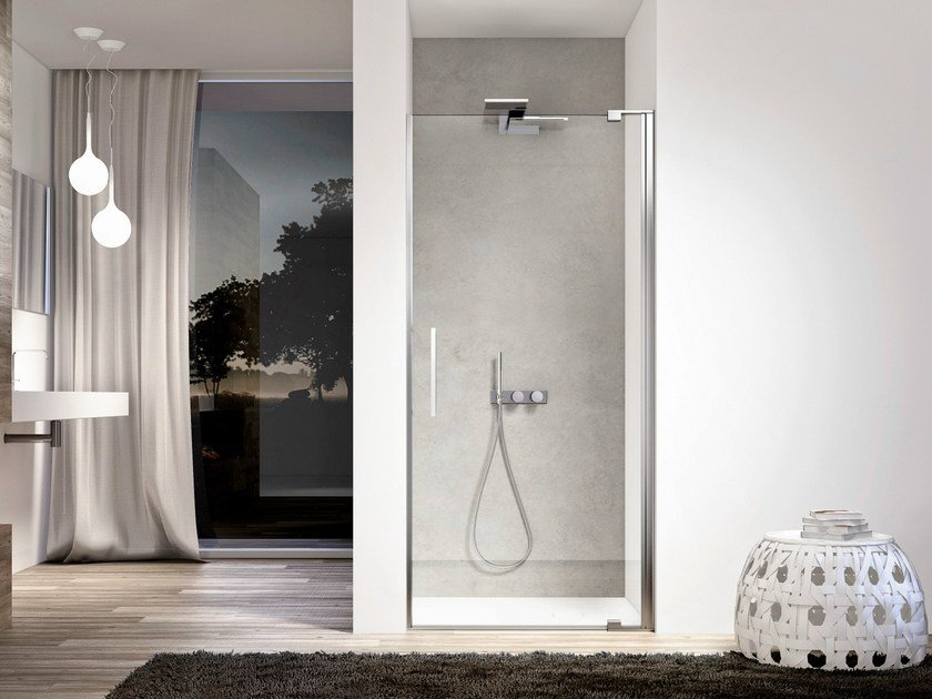 Niche glass shower cabin with hinged door SLIM SLNI by DISENIA