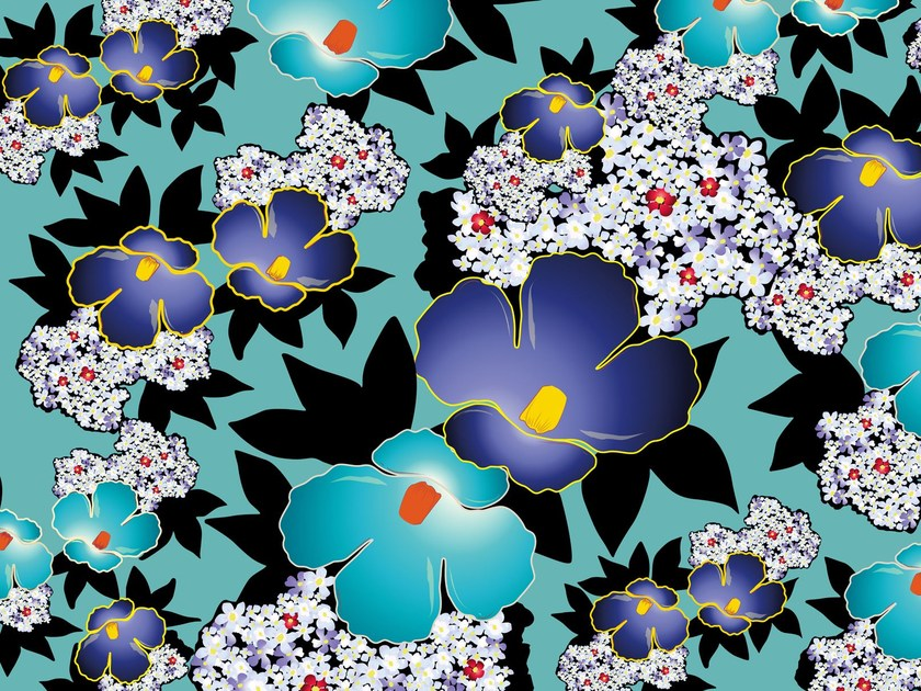 Wallpaper with floral pattern BLUE CHINA by Wall&decò
