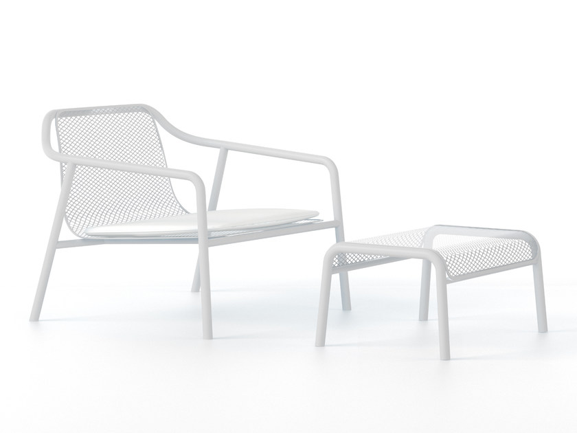 Metal garden armchair with footstool JACKET OUTDOOR by Tacchini