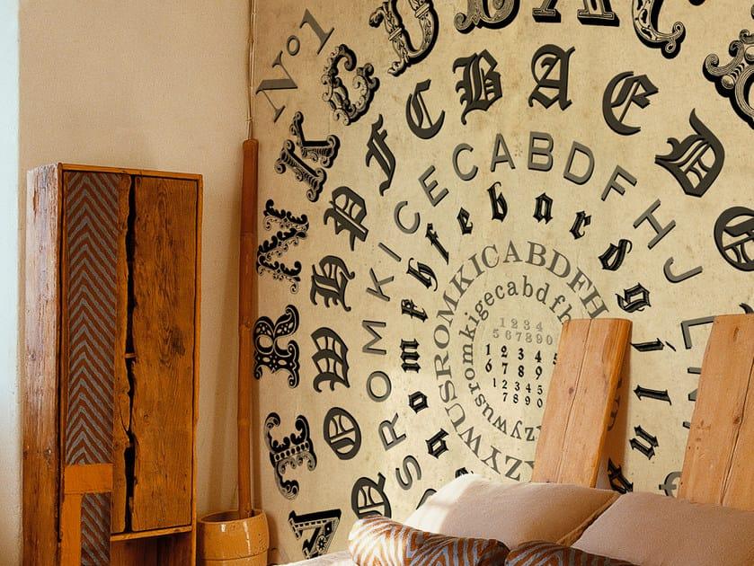 Wall effect writing wallpaper ALPHABETICAL SWIRL by Wall&decò