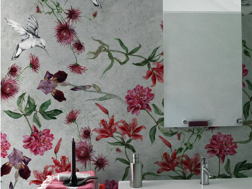 Wallpaper with floral pattern COLIBREEZE by Wall&decò
