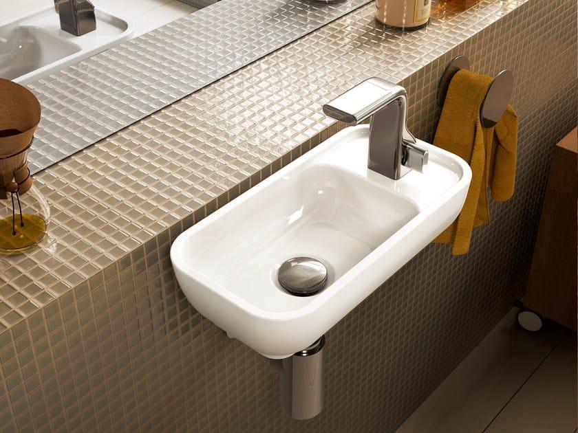 Rectangular wall-mounted ceramic handrinse basin PASS | Wall-mounted handrinse basin by CERAMICA FLAMINIA