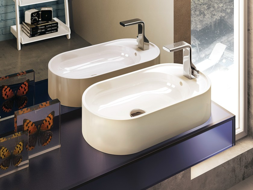 Countertop oval ceramic washbasin with overflow PASS 60 | Countertop washbasin by CERAMICA FLAMINIA