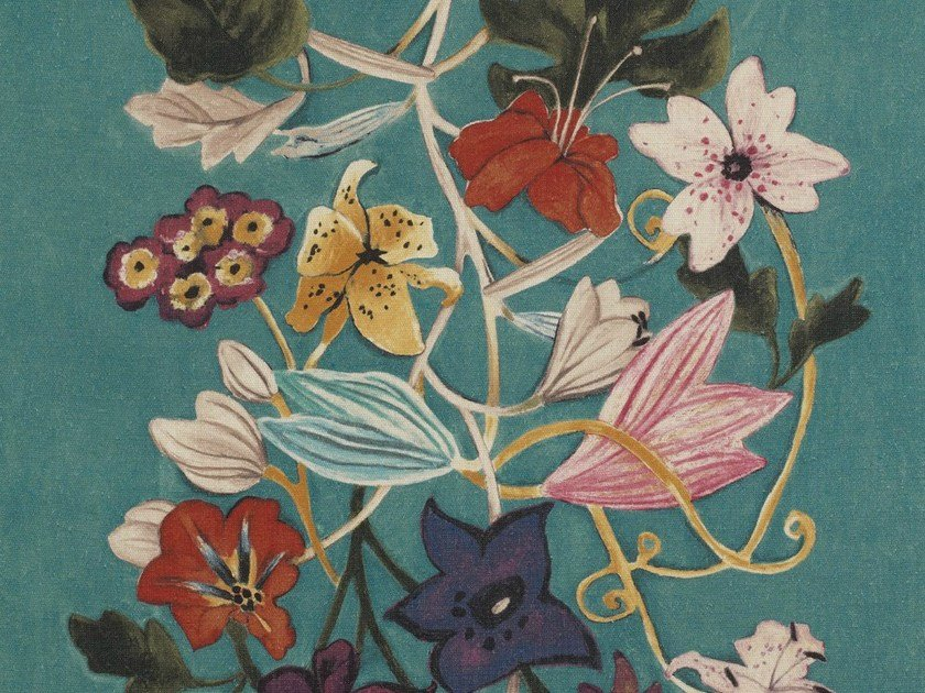 Jute fabric with floral pattern ABOUT FLOWERS by Dedar