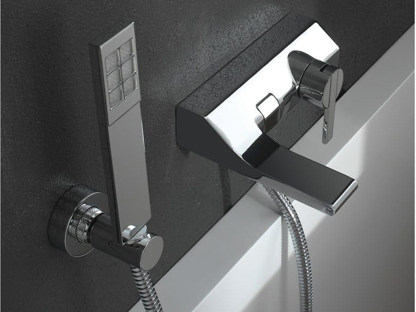Wall-mounted single handle bathtub mixer with hand shower REM   Bathtub mixer with hand shower by ZAZZERI