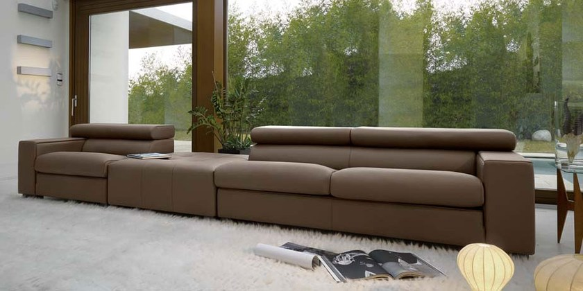 Sectional leather sofa with headrest HUGO by Italy Dream Design