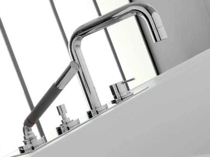 4 hole single handle bathtub set with hand shower MODO | 4 hole bathtub set by ZAZZERI