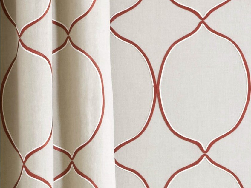 Linen fabric with graphic pattern for curtains ARLES by Dedar