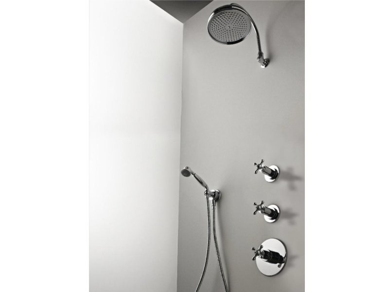 Shower mixer with hand shower with overhead shower MILLE | Shower mixer by ZAZZERI